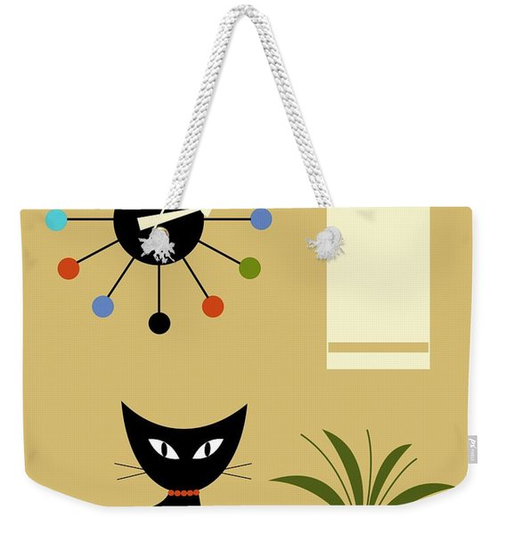 Weekender Tote Bag featuring the digital art Mid Century Ball Clock 2 by Donna Mibus