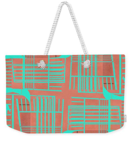Mid-century Design Dark Turquoise Weekender Tote Bag