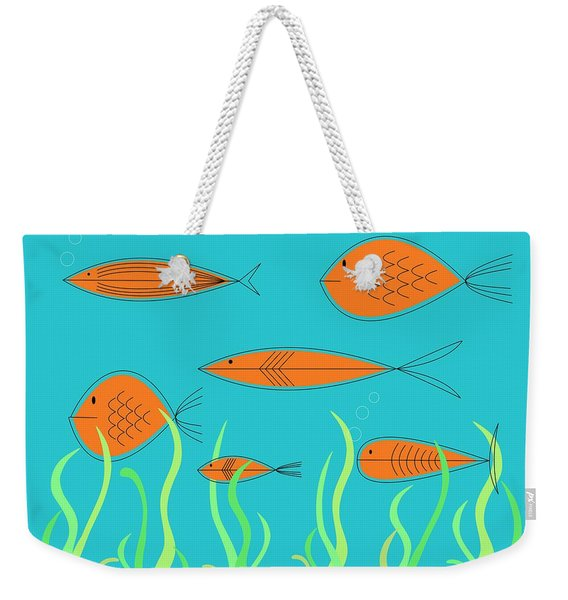 Weekender Tote Bag featuring the digital art Mid Century Fish 2 by Donna Mibus