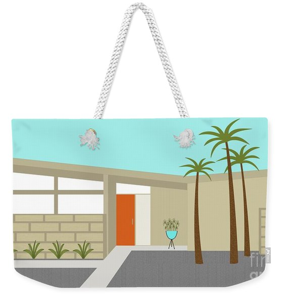 Weekender Tote Bag featuring the digital art Mid Century Modern House 1 by Donna Mibus