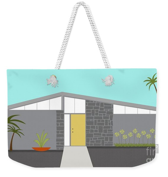 Weekender Tote Bag featuring the digital art Mid Century Modern House 2 by Donna Mibus