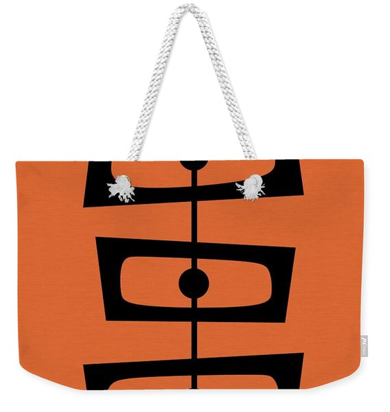 Weekender Tote Bag featuring the digital art Mid Century Shapes On Orange by Donna Mibus