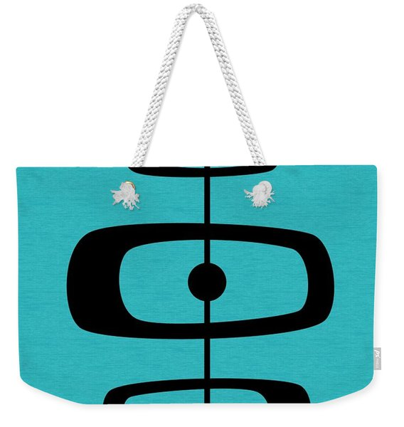 Mid Century Shapes 2 On Turquoise Weekender Tote Bag