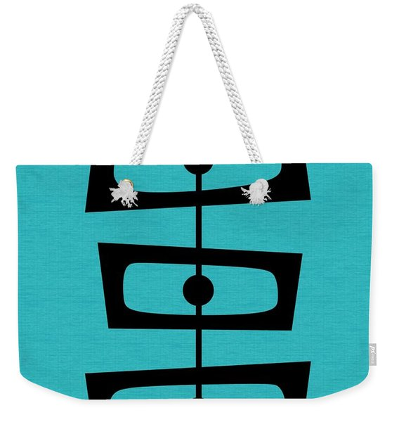 Mid Century Shapes On Turquoise Weekender Tote Bag