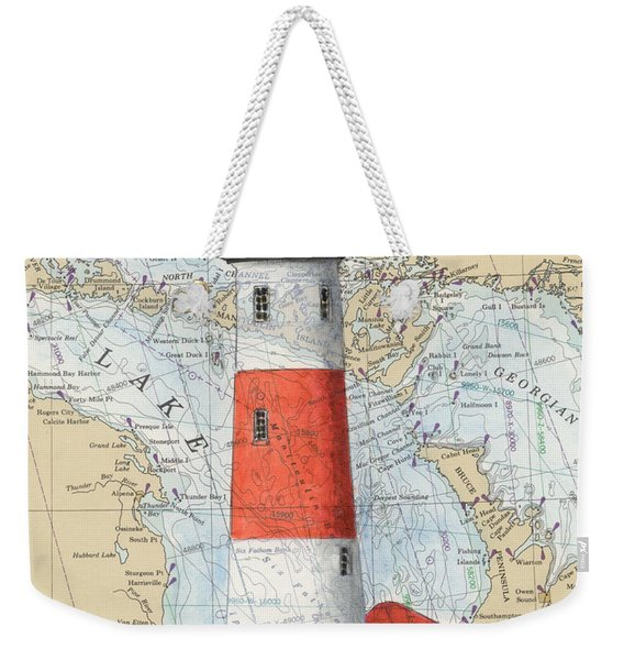 Middle Island Lighthouse Mi Cathy Peek Nautical Chart Art Weekender Tote Bag