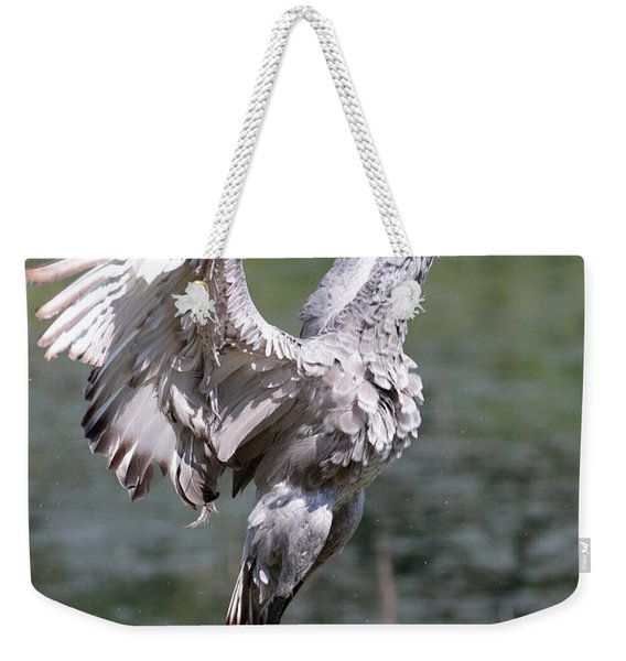 Mighty Sandhill Crane Weekender Tote Bag
