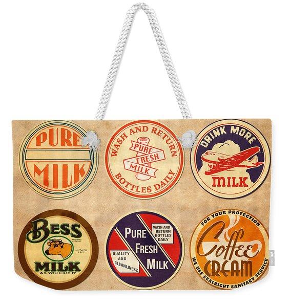 Milk Bottle Tops Weekender Tote Bag