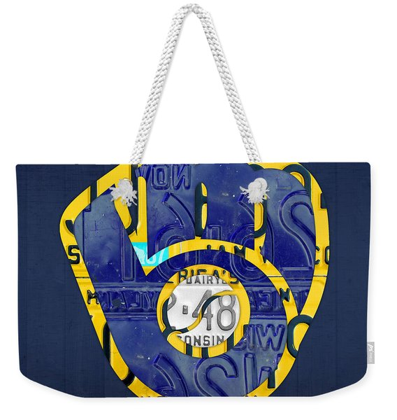 Milwaukee Brewers Vintage Baseball Team Logo Recycled Wisconsin License Plate Art Weekender Tote Bag