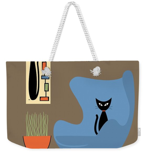 Weekender Tote Bag featuring the digital art Mini Rectangle Cat by Donna Mibus