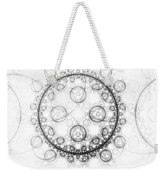Minimalist Fractal Art Black And White Circles Weekender Tote Bag