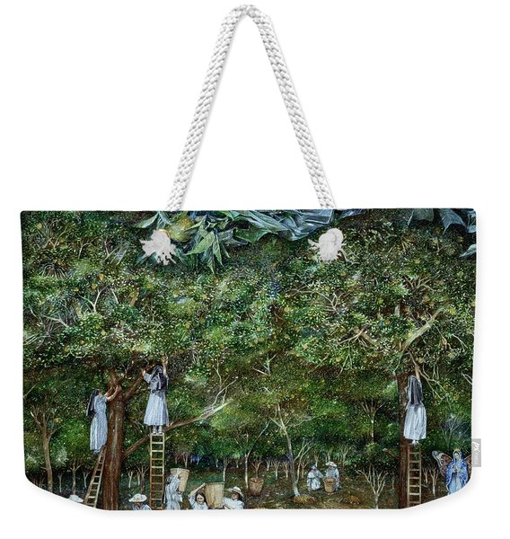 Miraculous Vision Of The Virgin In The Orange Orchard, 1996 Oil On Canvas Weekender Tote Bag