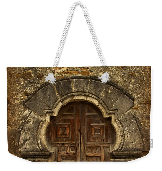 Weekender Tote Bag featuring the photograph Mission Espada Doorway by Jemmy Archer