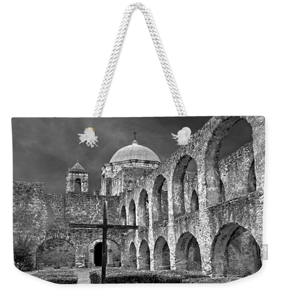 Weekender Tote Bag featuring the photograph Mission San Jose Arches Bw by Jemmy Archer