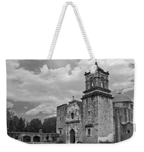 Weekender Tote Bag featuring the photograph Mission San Jose Bw by Jemmy Archer