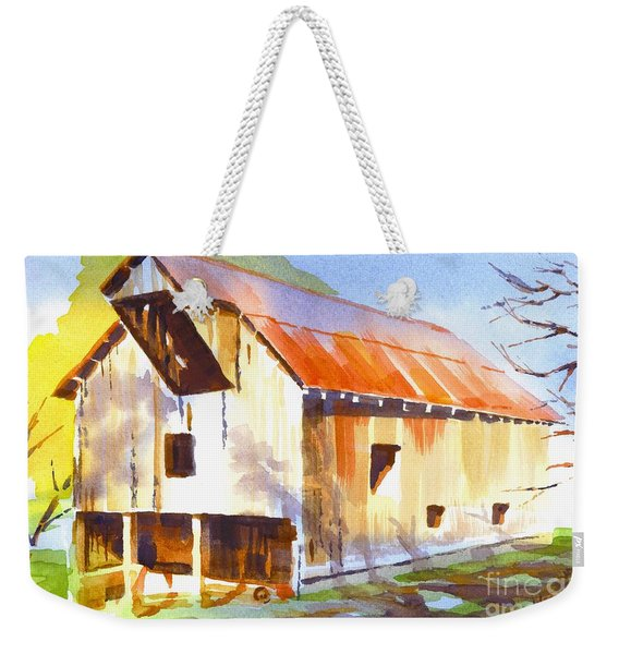 Missouri Barn In Watercolor Weekender Tote Bag