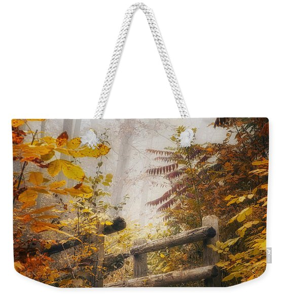 Misty Footbridge Weekender Tote Bag