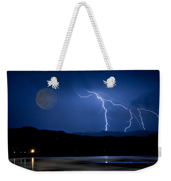 Misty Lake Full Moon Lightning Storm Fine Art Photo Weekender Tote Bag