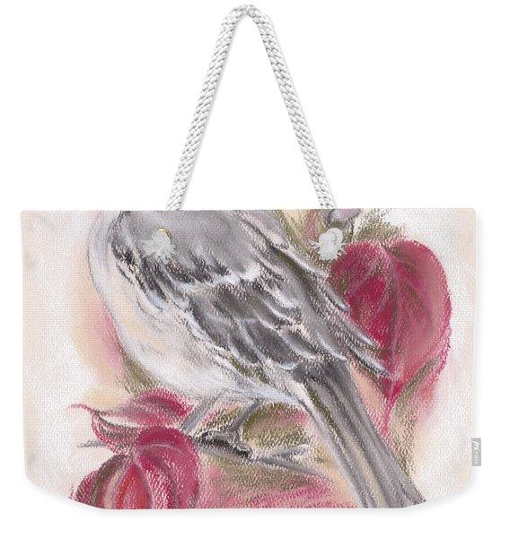 Mockingbird In Autumn Dogwood Weekender Tote Bag