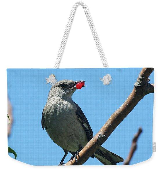 Mockingbird With Berries Weekender Tote Bag