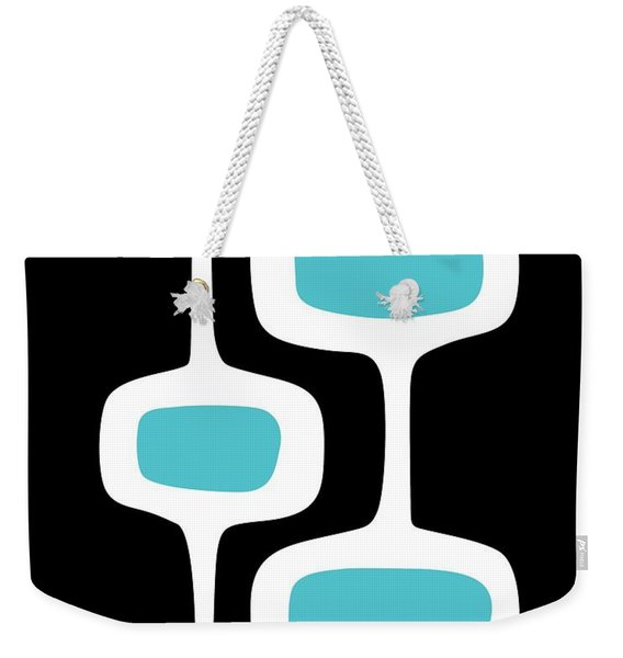 Weekender Tote Bag featuring the digital art Mod Pod 2 White On Black by Donna Mibus