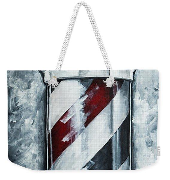 Modern Barber Pole Weekender Tote Bag
