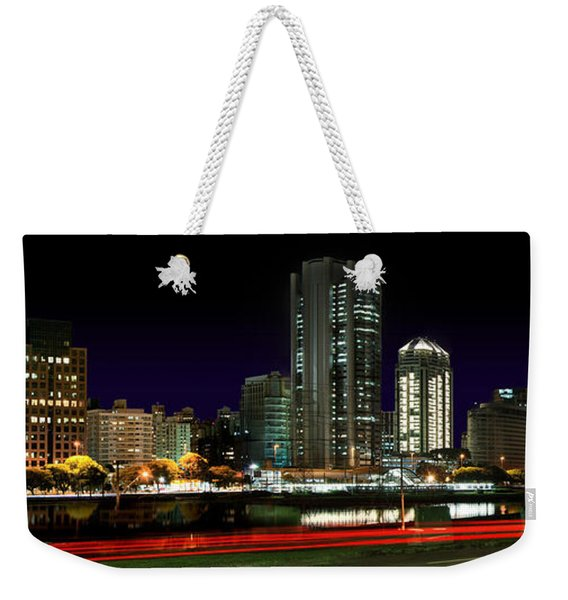 Modern Sao Paulo Skyline Near Brooklin District And Stayed Bridge Weekender Tote Bag