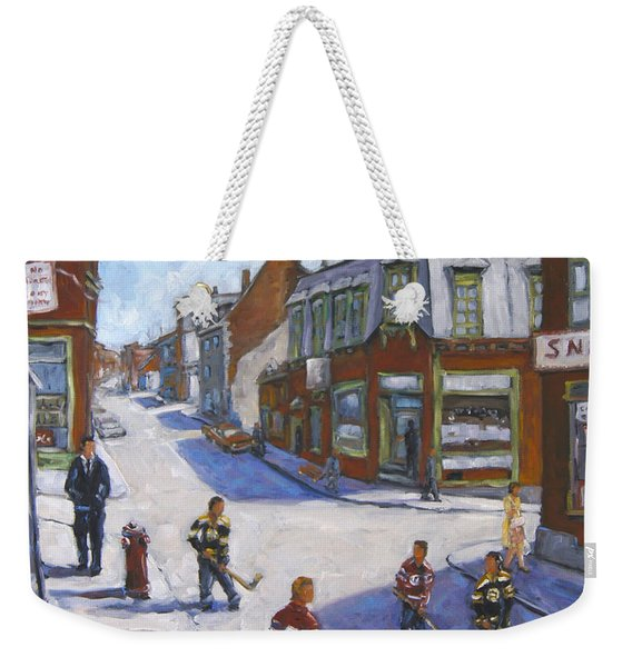 Molasses Town Hockey Rivals In The Streets Of Montreal By Pranke Weekender Tote Bag