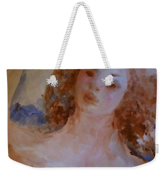Weekender Tote Bag featuring the painting Mom Near Jupiter by Laurie Lundquist