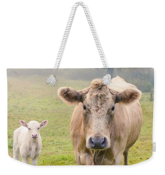 Momma And Baby Cow Weekender Tote Bag