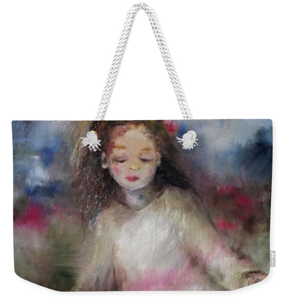 Weekender Tote Bag featuring the painting Mommy's Little Girl by Laurie Lundquist