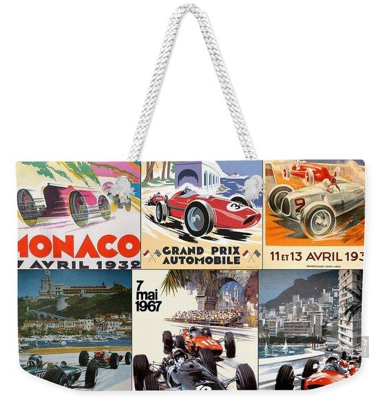 Monaco F1 Grand Prix Vintage Poster Collage Weekender Tote Bag