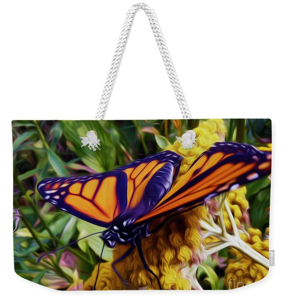 Monarch On Yarrow Weekender Tote Bag