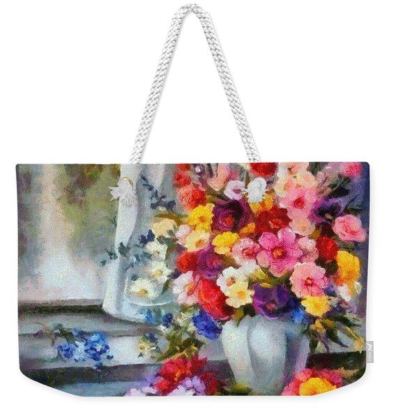 Monet Floral Edged Weekender Tote Bag