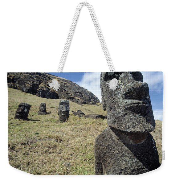Monolithic Statues At Rano Raraku Quarry Weekender Tote Bag