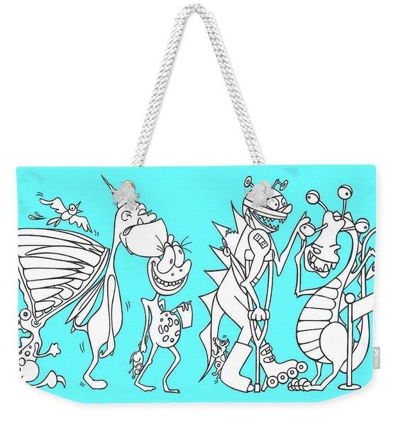 Monster Queue Blue Weekender Tote Bag