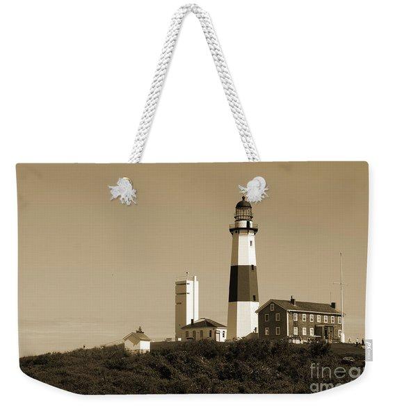 Montauk Point Light In Sepia Weekender Tote Bag