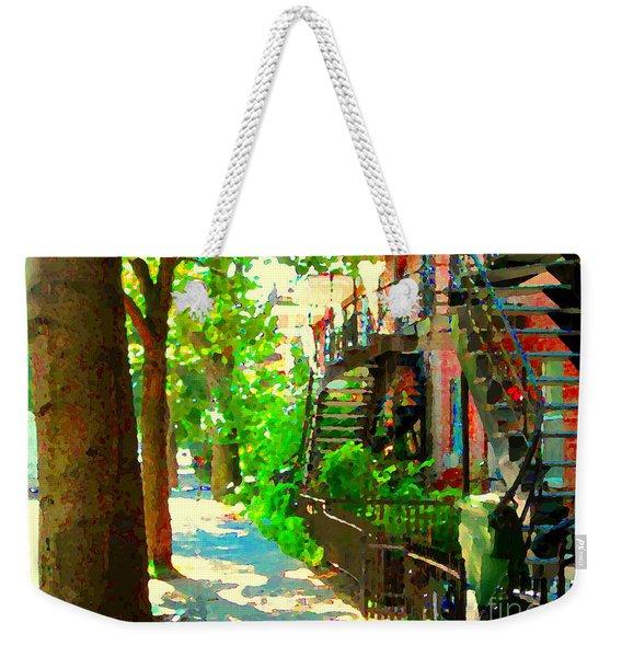 Montreal Art Colorful Winding Staircase Scenes Tree Lined Streets Of Verdun Art By Carole Spandau Weekender Tote Bag