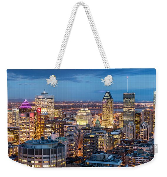 Weekender Tote Bag featuring the photograph Montreal Panorama by Mihai Andritoiu
