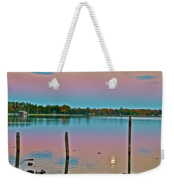 Moon On Lake Huron From Cedarville-michigan Weekender Tote Bag