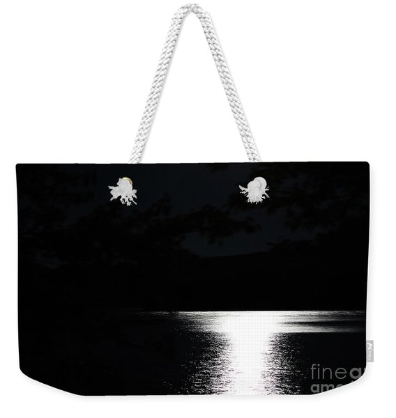 Moon On Waterton Lake Weekender Tote Bag