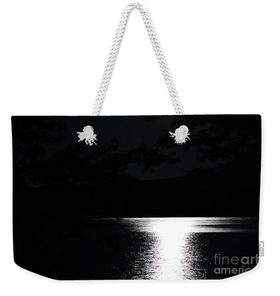 Moon On Waterton Lake Weekender Tote Bag