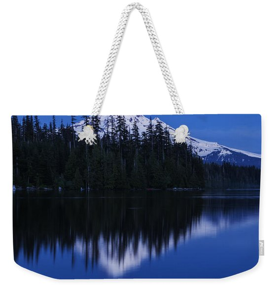 Moonlit Mount Hood Blue Hour Weekender Tote Bag