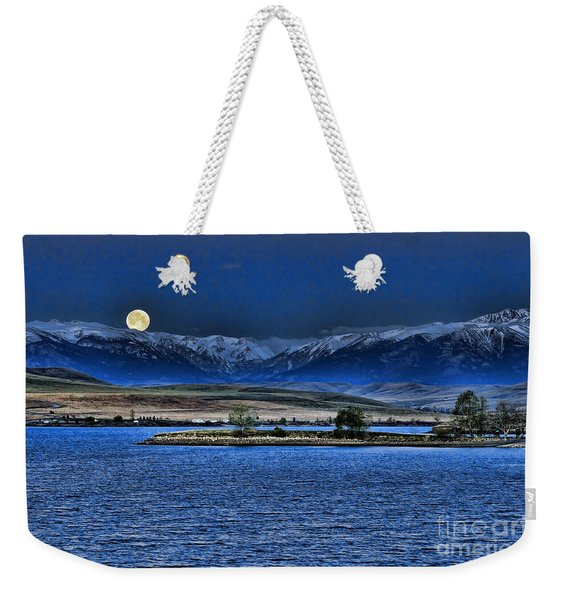 Moonset Over Cooney Weekender Tote Bag