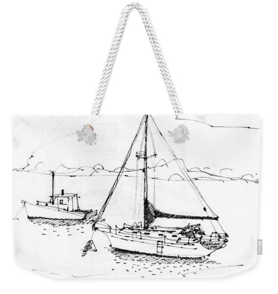 Moored Boats Monhegan Island Weekender Tote Bag