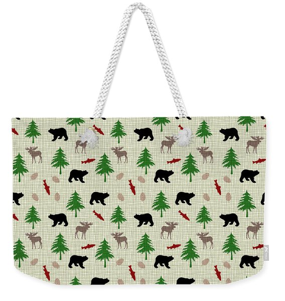 Moose And Bear Pattern Weekender Tote Bag