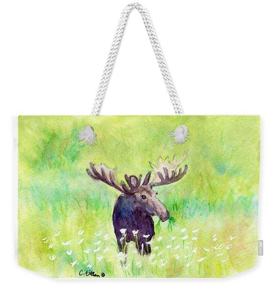 Moose In Flowers Weekender Tote Bag