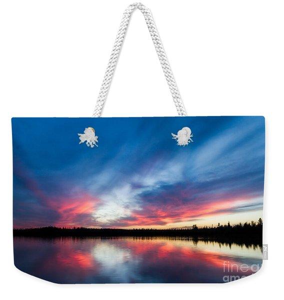 Moose Lake Sunset Weekender Tote Bag
