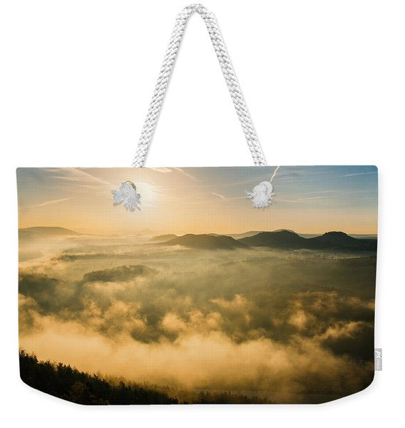 Morning Fog In The Saxon Switzerland Weekender Tote Bag
