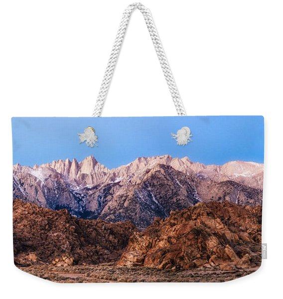 Morning Light Mount Whitney Weekender Tote Bag