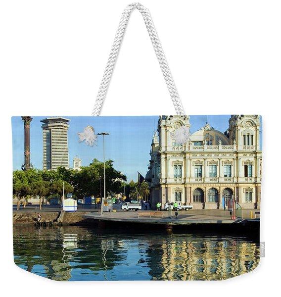 Morning Water Reflections Of Building Weekender Tote Bag
